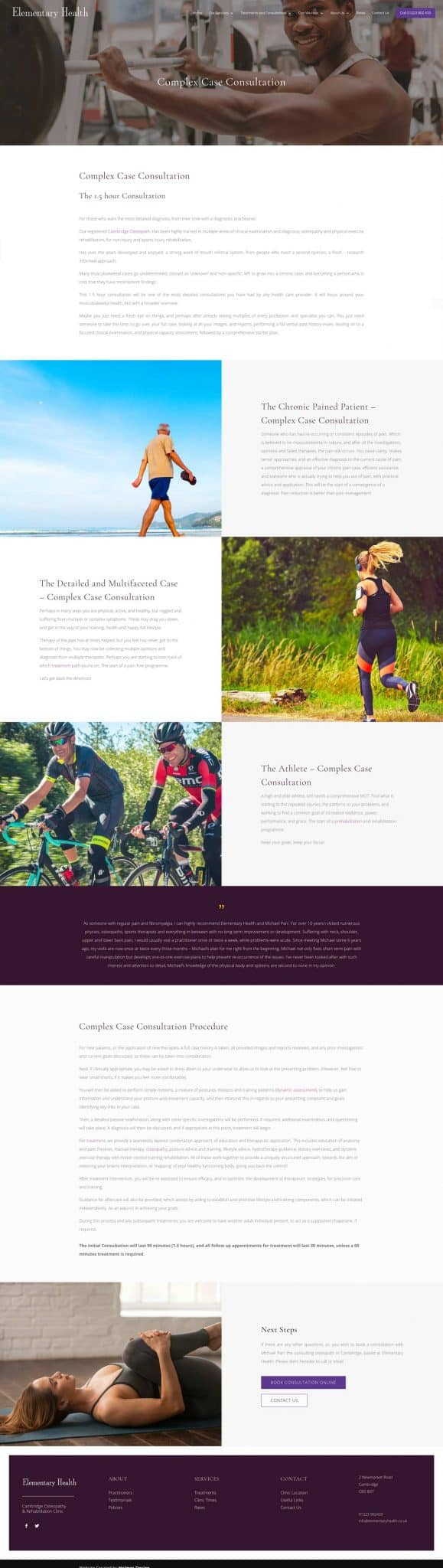 elementary health responsive website design complex case page