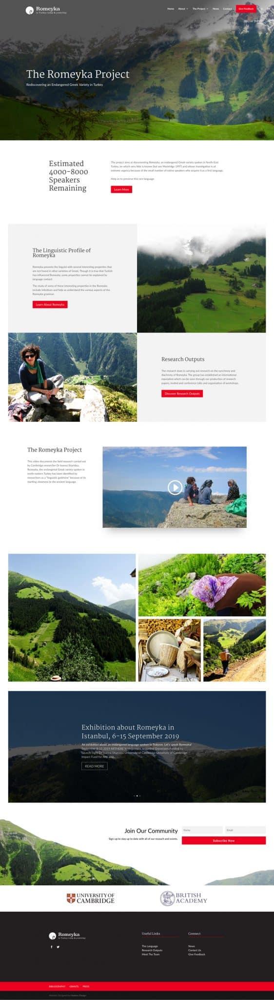 romeyka home page website design cambridge university