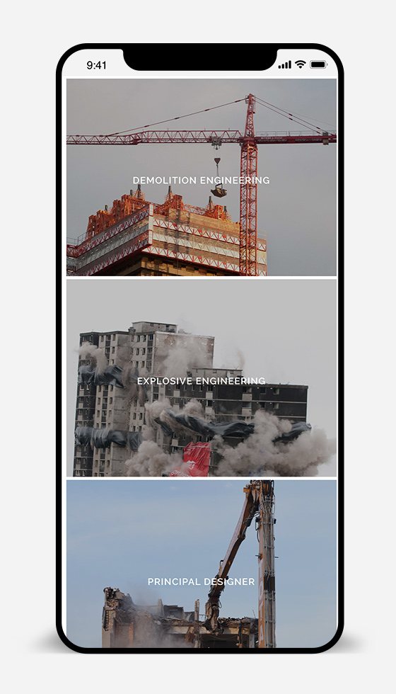 iphone website design for construction company